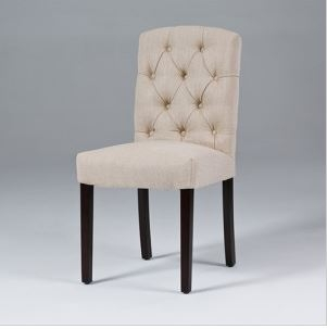 Seriena Lyon Tufted Back Dining Chair In Beige/Gray Linen, Tufted Dining  Chairs,