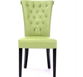 Elegant Seriena New Orleans Tufted Back Dining Chair In Green Leather, Green Leather  Dining Chairs, Part 27