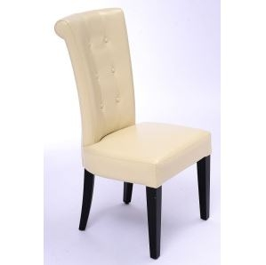 Seriena Tufted Back Dining Chair In Beige Leather Chairs