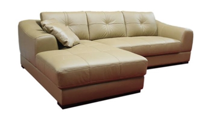 Seriena W series L Shaped Sectional Sofa with Loveseat and Chase Lounge in  Brown/Beige/White Top Grain Leather
