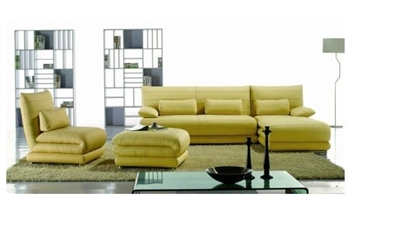 Seriena W series Four Piece Sectional Sofa with Chase Lounge and Ottoman in  Yellow Top Grain Leather