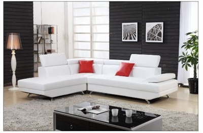 Seriena W series L shape sectional Sofa with Chase Lounge in White Top  Grain Leather