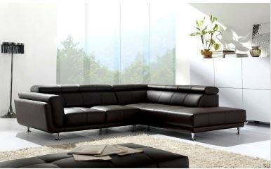 Seriena W series L Shaped Sectional Sofa/Corner Sofa with Three Seater and  Chase Lounge in Black Top Grain Leather