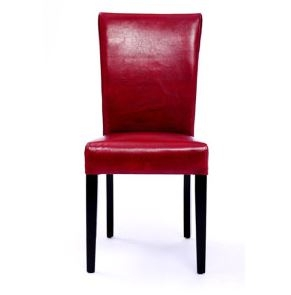 Seriena Shanghai (set of two) Dining Chair with Bonded Leather in Red,  Light Blue or Ivory Color